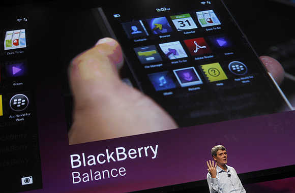 Research In Motion CEO Thorsten Heins discusses features of the Blackberry 10 in San Jose, California.