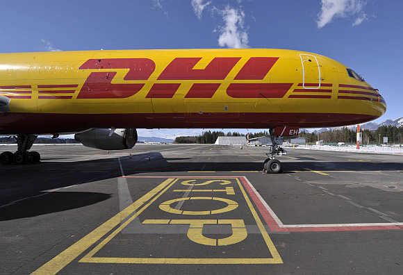 DHL Boeing cargo aircraft at Ljubljana's airport Brnik in Sl