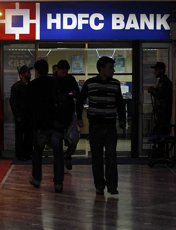 An HDFC bank branch in Srinagar.