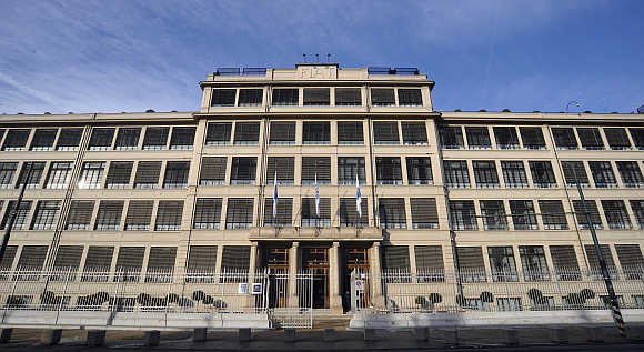 Main entrance of the Fiat's headquarters in Turin, Italy.
