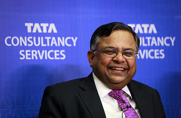 N Chandrasekaran, CEO, Tata Consultancy Services, in Mumbai.