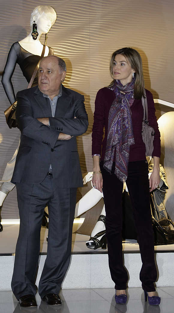 Amancio Ortega with Spain's Princess Letizia in Coruna, Spain.