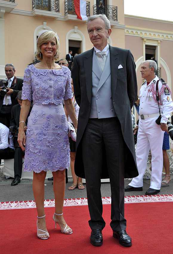 Bernard Arnault with his wife Helene Mercier-Armault in Monaco.