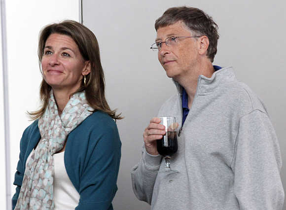 Bill Gates with wife Melinda in Seattle, Washington.