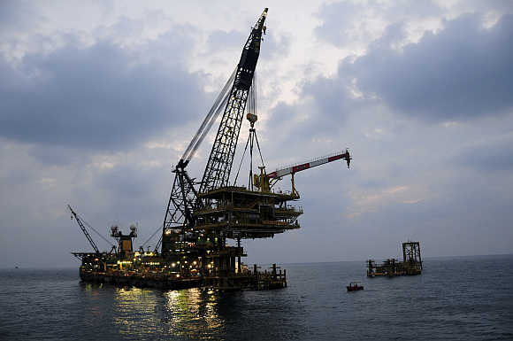 An offshore platform of Aramco's gas field in Saudi Arabia's territorial waters.
