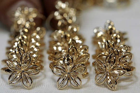 Jewellery made from gold is laid out at a factory in Minsk, Belarus.