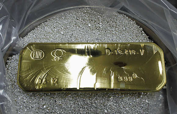 An ingot of 99.99 per cent pure gold that weighs 12.5 kg in Ventanas city, about 164km northwest of Santiago, Chile.