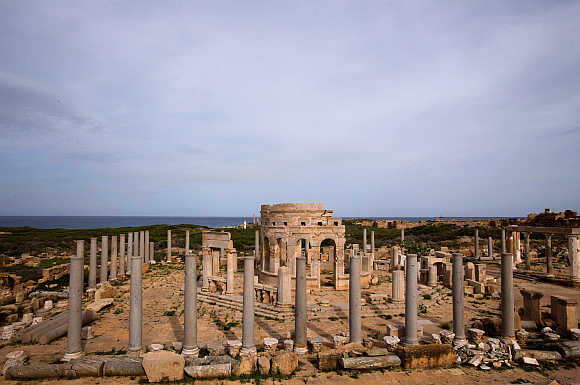 A view of Leptis Magna, a Unesco World Heritage site on the Mediterranean coast of North Africa, 120km east of Tripoli, Libya.