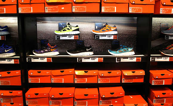 Nike shoes on display in Encinitas, California.
