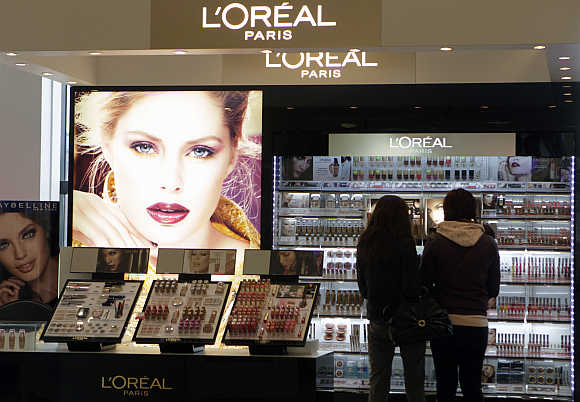 L'Oreal cosmetics in the shop in Riga, Latvia.