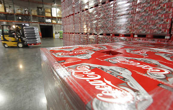 Cases of Coca-Cola in a warehouse at the Swire Coca-Cola facility in Draper, Utah, United States.