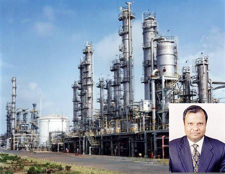 Background image shows Reliance Industries Limited petrochemical plant at Hazira. Jai Corp chairman Anand Jain in the inset.