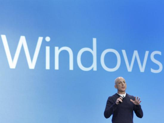 Steven Sinofsky, the president of the Windows and Windows Live Division at Microsoft, speaks at the launch event of Windows 8 operating system.