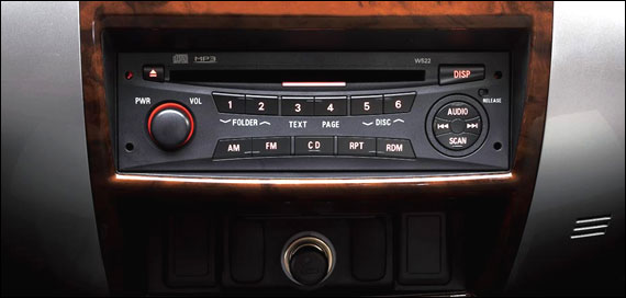 AM/FM radio and CD player.