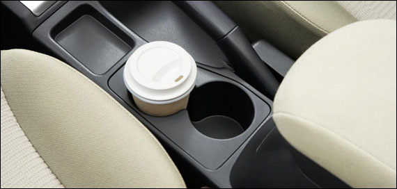 Front cup holders on floor console.