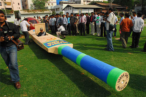 A cricket bat-shaped car which was introduced during the World Cup in 2007.