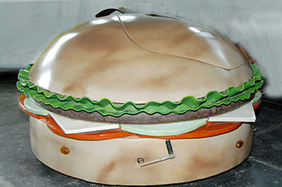 A burger-shaped car.