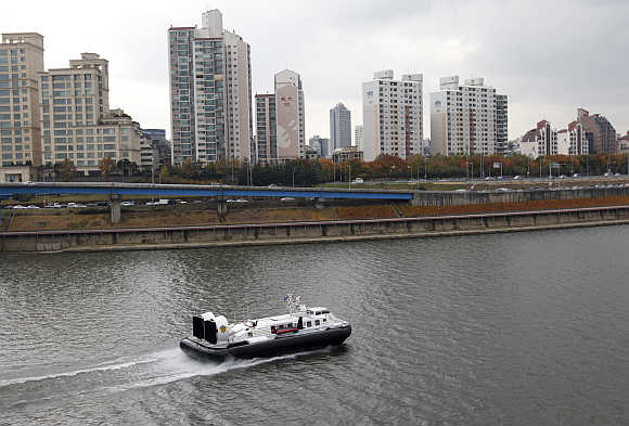 A South Korea coast guard hovercraft patrols on Han River in Seoul.