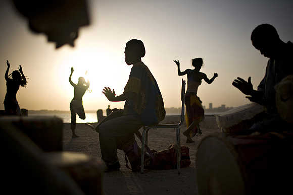 Drummers and dancers on Goree Island off Senegal's capital Dakar.
