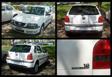 The Brazilian 2003 Volkswagen Gol Mk3 1.6 Total Flex (four views), the first modern commercial flexible-fuel automobile capable of running with any fuel blend between E25 to E100.