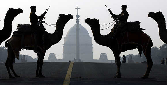 Border Security Force soldiers on camels in New Delhi.