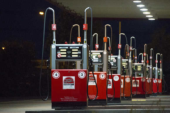 Gas pumps at a petrol station in Berlin, Germany.