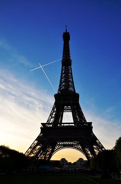 Eiffel Tower at dusk.