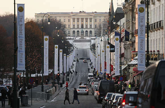 A view of the Royal Palace at the end of Karl Johans Gate in Oslo, Norway.