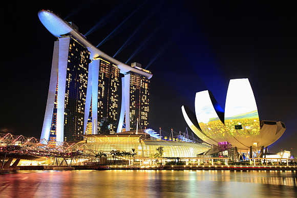 A view of Marina Bay Sands hotel and ArtScience Museum in Singapore.