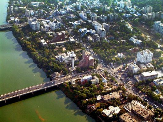 Ahmedabad city on the banks of Sabarmati.