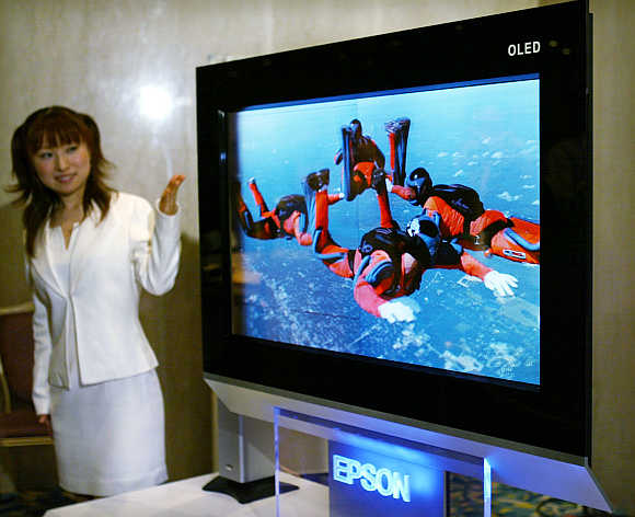 A view of Seiko Epson's TV in Tokyo.