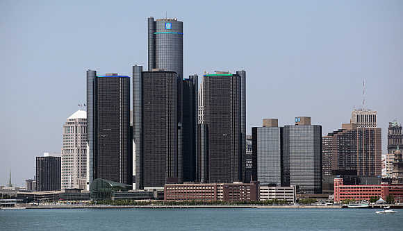 Detroit's skyline, including General Motors Global Headquarters, is seen along the Detroit River from Windsor, Canada.