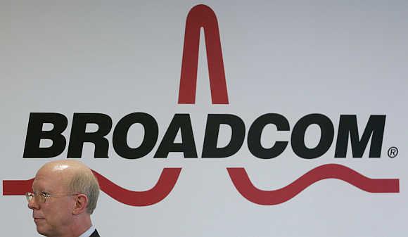 Broadcom's logo in Taipei, Taiwan.