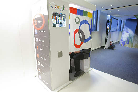 A photobooth at the headquarters of Google France in Paris.