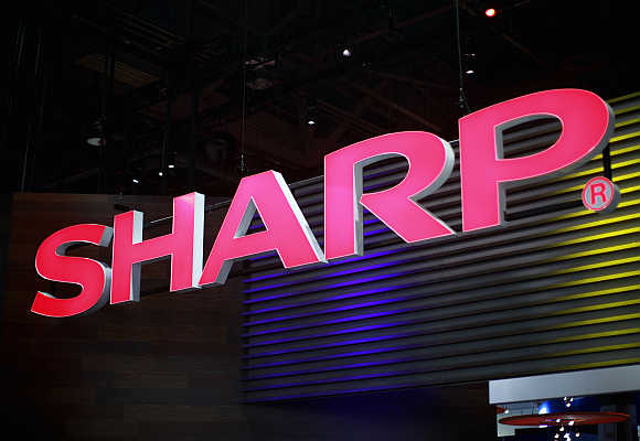 A Sharp booth at the Consumer Electronics Show in Las Vegas.