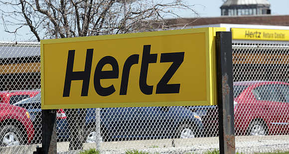 A Hertz rental car sign near Detroit Metropolitan airport in Romulus, Michigan.