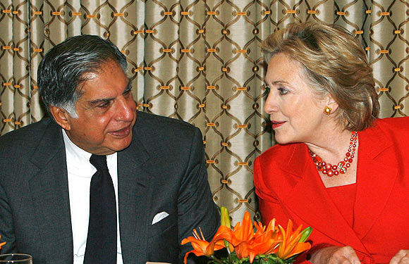 Then US Secretary of State Hillary Clinton, right, and then chairman of the Tata group Ratan Tata at the Taj hotel in Mumbai.