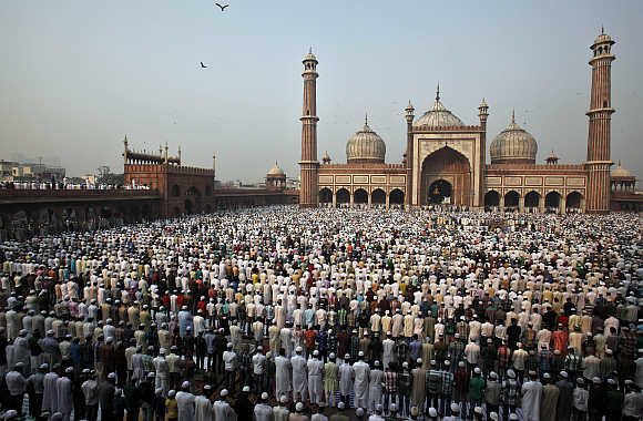 Muslims offer prayers at the Jama Masjid in Delhi.