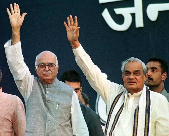 Then prime minister Atal Bihari Vajpayee, right, with L K Advani, then deputy prime minister and home minister