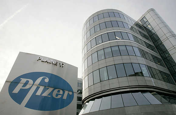 Belgian headquarters of US pharmaceutical giant Pfizer in Brussels.