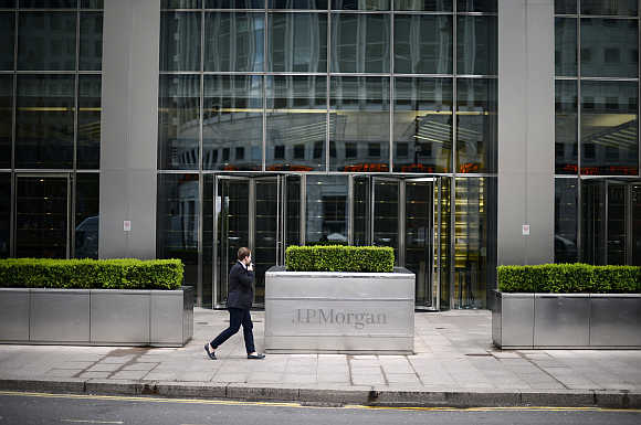 JP Morgan headquarters at Canary Wharf in London.