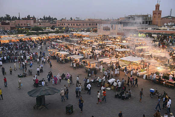 A view of Marrakesh's Jemma El-Fnaa square.