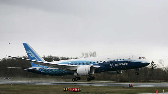 Boeing 787 Dreamliner takes off on its maiden flight at Paine Field, Washington.