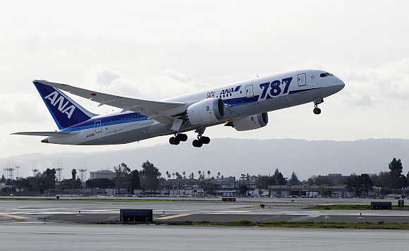 An All Nippon Airways Boeing 787 Dreamliner takes off in San Jose International Airport for Tokyo in San Jose, United States.