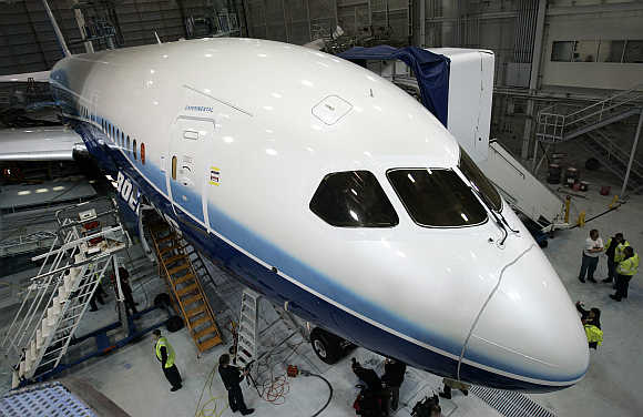 Boeing company's first 787 Dreamliner is readied for its first test flight, scheduled for June, at the Boeing company's Everett, Washington plant.