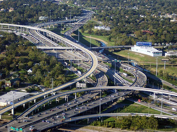 I-10 and I-45 interchange in Houston, Texas.