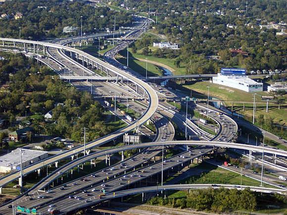 I-10 and I-45 interchange in Houston, Texas.