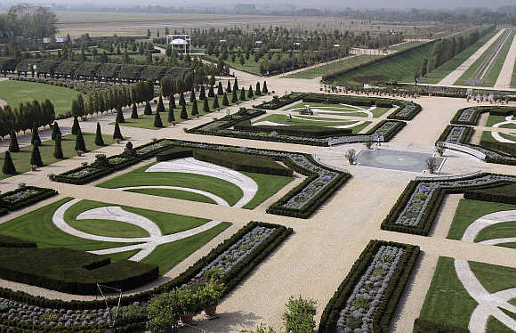 A view of rose garden at Palace of Venaria Reale in Turin.
