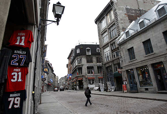 Montreal Canadiens' hockey team jerseys hang outside a shop in Vieux-Port in Montreal.