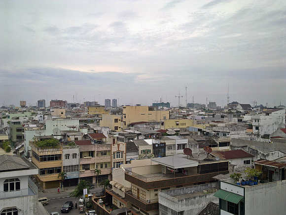 Skyline of Medan, Indonesia.
